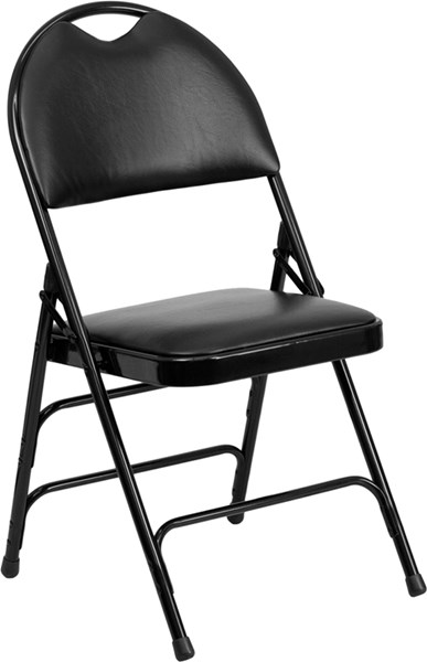 Flash Furniture Hercules Extra Large Ultrapremium Triple Braced Black Vinyl Folding Chair FLF-HA-MC705AV-3-BK-GG