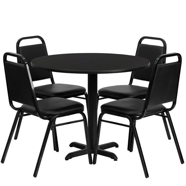 5pc Round Dining Set w/36 Inch Black Laminate Table & Banquet Chairs FLF-HDBF1001-T3030-DR-S1