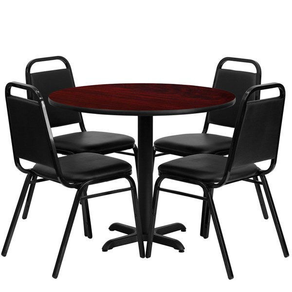 5pc Dining Set w/36 Inch Mahogany Laminate Table & Banquet Chairs FLF-HDBF1002-T3030-DR-S2