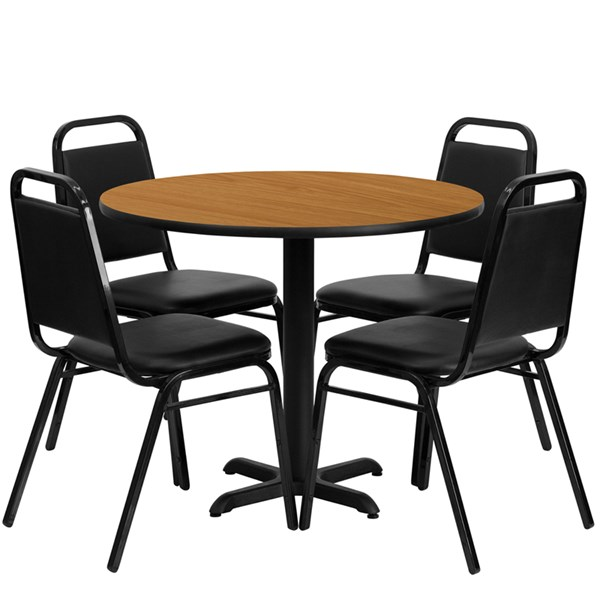 5pc Round Dining Set w/36 Inch Natural Laminate Table & Banquet Chairs FLF-HDBF1003-T3030-DR-S3