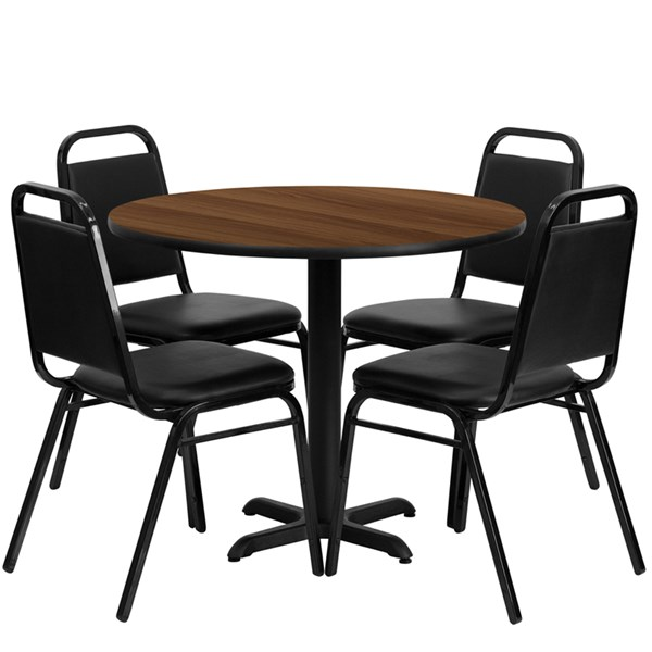 5pc Round Dining Set w/36 Inch Walnut Laminate Table & Banquet Chairs FLF-HDBF1004-T3030-DR-S4