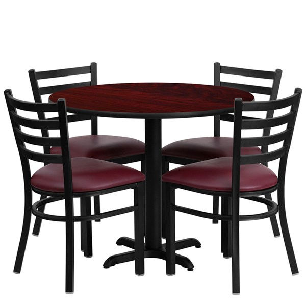 5pc Round Dining Set w/36 Inch Mahogany Laminate Table & Burgundy Seat FLF-HDBF1006-T3030-DR-S6