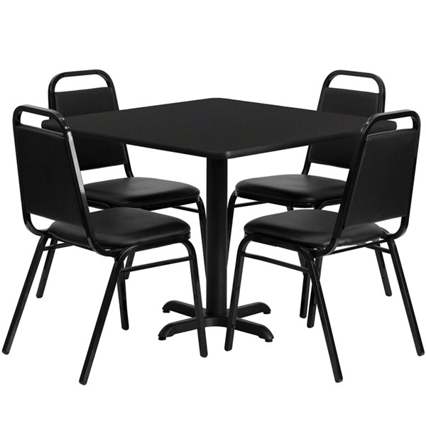 36 Inch Square Laminate Steel Wood Dining Room Set FLF-HDBF10-GG-DR1