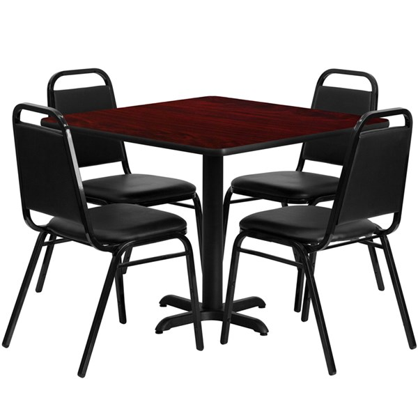 5pc Dining Set w/36 Inch Mahogany Laminate Table & Banquet Chair FLF-HDBF1010-3636-DR-S10