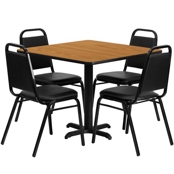 5pc Square Dining Set w/36 Inch Natural Laminate Table & Banquet Chair FLF-HDBF1011-3636-DR-S11
