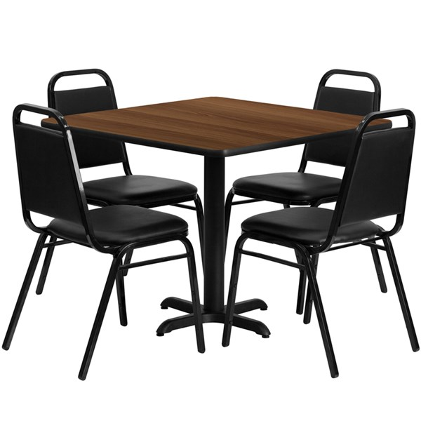 5pc Square Dining Set w/36 Inch Walnut Laminate Table & Banquet Chairs FLF-HDBF1012-3636-DR-S12