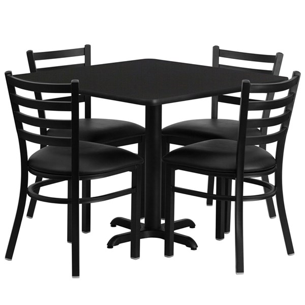 5pc Square Dining Room Set w/36 Inch Laminate Table & 4 Black Vinyl FLF-HDBF1013-GG-DR-S