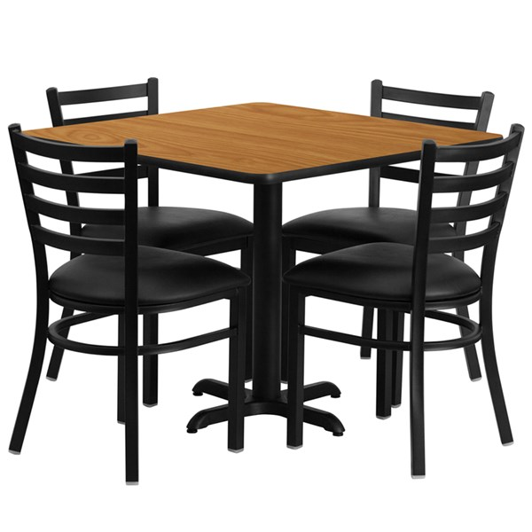 5pc Dining Set w/36 Inch Natural Laminate Table & Black Vinyl Seat FLF-HDBF1015-3636-DR-S15