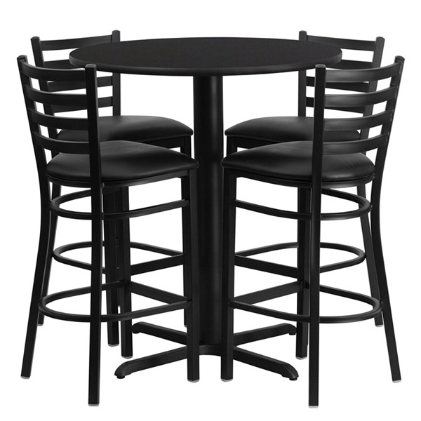 Black Laminate MDF Steel Vinyl Wood Round 5pc Counter Height / Bar Set FLF-HDBF1021-T2222B-BAR-S21