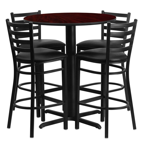 Mahogany Black MDF Steel Vinyl Wood Round 5pc Counter Height / Bar Set FLF-HDBF1022-T2222B-BAR-S22