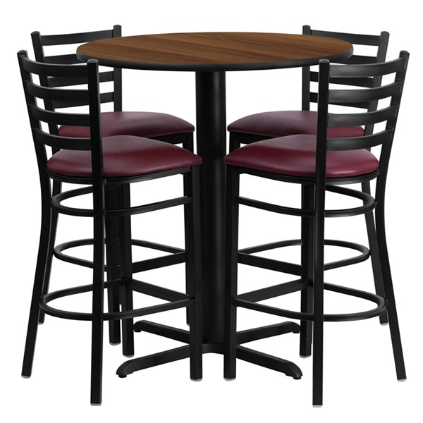 Burgundy Walnut Black MDF Steel Wood 5pc Counter Height / Bar Set FLF-HDBF1028-T2222B-BAR-S28