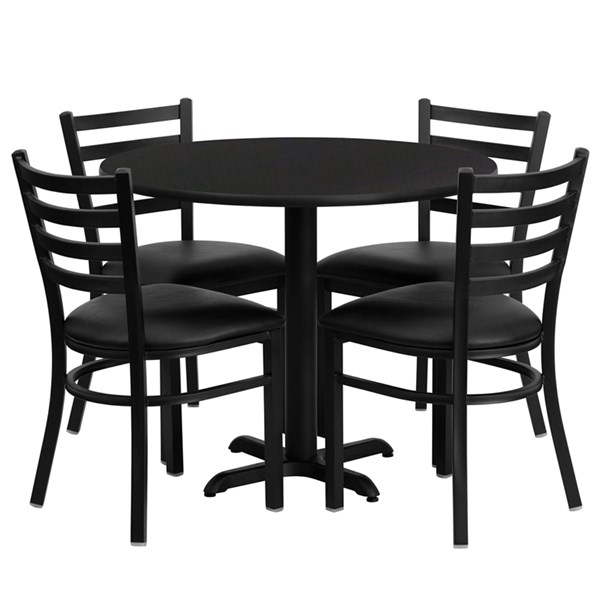 5pc Dining Set w/36 Inch Black Laminate Table & 4 Black Vinyl Seat FLF-HDBF1029-T3030-DR-S29