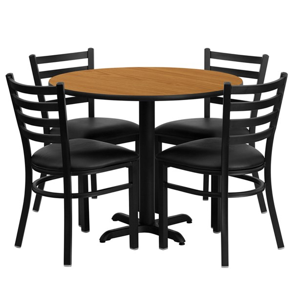 5pc Round Dining Set w/36 Inch Natural Laminate Table & 4 Black Seat FLF-HDBF1031-T3030-DR-S31