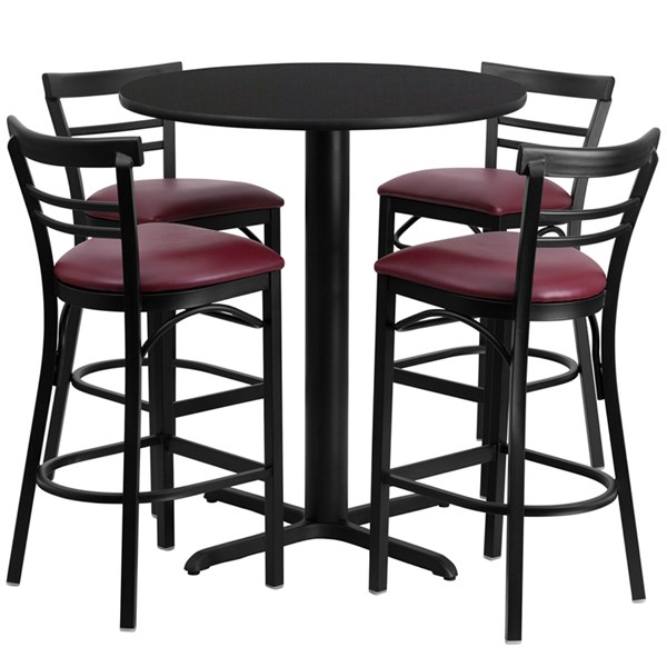 Black MDF Steel 24 Inch Round Table Set W/4 Ladder Back Bar Stools FLF-HDBF1037-T2222B-BAR-S37