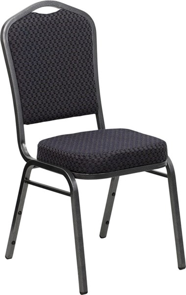 Flash Furniture Hercules Black Fabric Crown Back Stacking Banquet Chair FLF-HF-C01-SV-E26-BK-GG