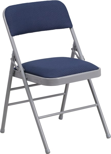 Hercules Series Triple Braced Navy Fabric Metal Folding Chair FLF-HF3-5-GG