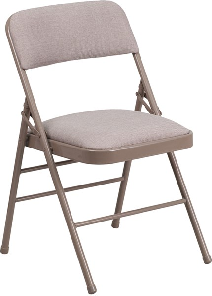 Hercules Series Triple Braced Beige Fabric Metal Folding Chair FLF-HF3-7-GG