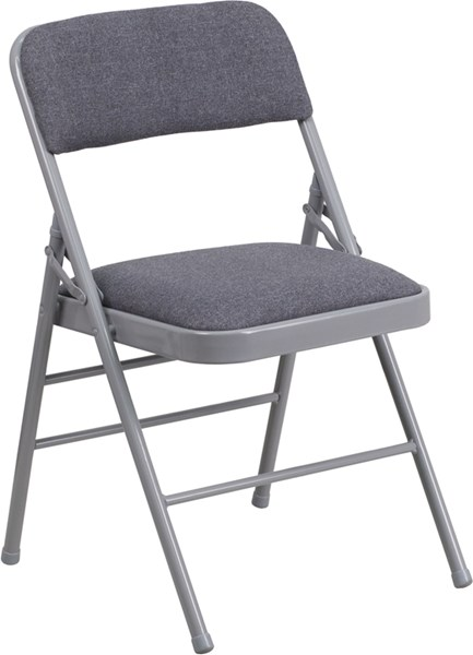 Hercules Gray Beige Fabric Metal Folding Chairs FLF-HF3-8-GG-OUT-CH-VAR