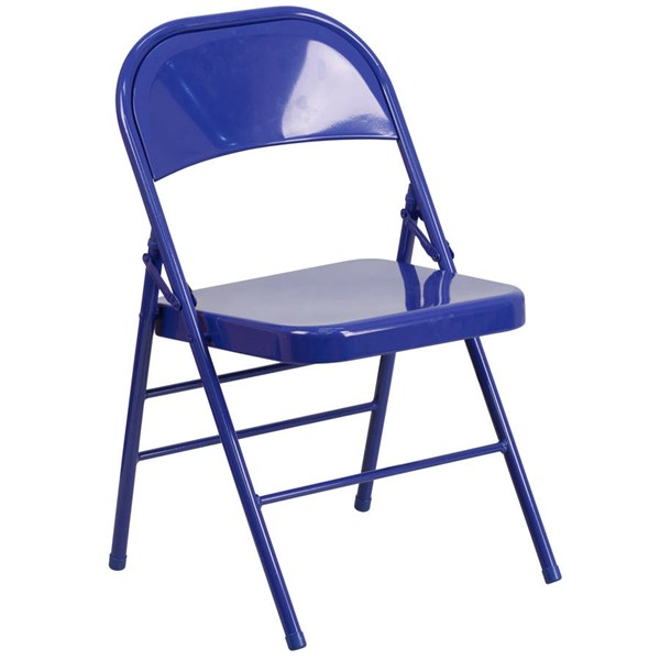 Flash Furniture Hercules Colorburst Cobalt Blue Double Hinged Folding Chair FLF-HF3-BLUE-GG