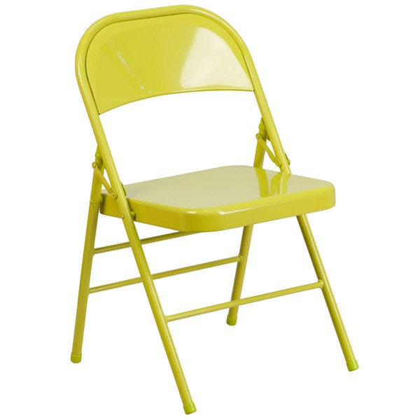 Flash Furniture Hercules Colorburst Twisted Citron Double Hinged Folding Chair FLF-HF3-CITRON-GG