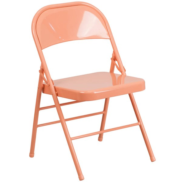 Flash Furniture Hercules Colorburst Sedona Coral Double Hinged Folding Chair FLF-HF3-CORAL-GG