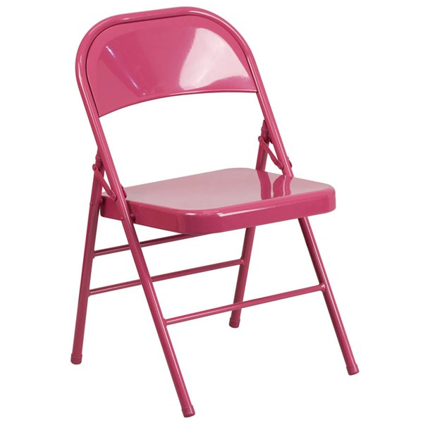 Flash Furniture Hercules Colorburst Shockingly Fuchsia Double Hinged Folding Chair FLF-HF3-FUCHSIA-GG