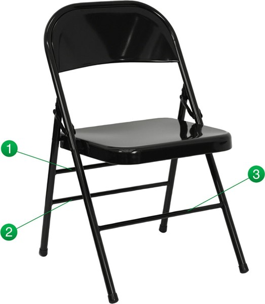 Flash Furniture Hercules Quad Hinged Black Metal Folding Chair FLF-HF3-MC-309AS-BK-GG