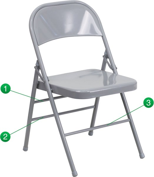 Flash Furniture Hercules Quad Hinged Gray Metal Folding Chair FLF-HF3-MC-309AS-GY-GG