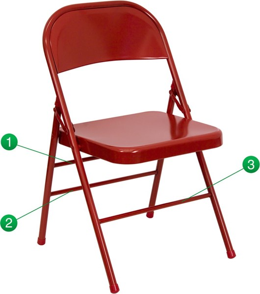 Flash Furniture Hercules Quad Hinged Red Metal Folding Chair FLF-HF3-MC-309AS-RED-GG