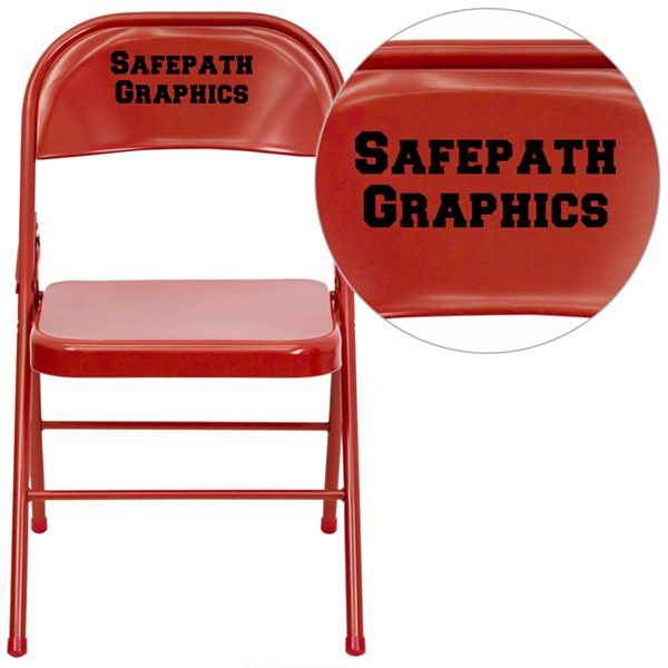 Personalized Hercules Three Braced & Double Hinged Red Folding Chair FLF-HF3-MC-309AS-RED-TXTEMB-VYL-GG