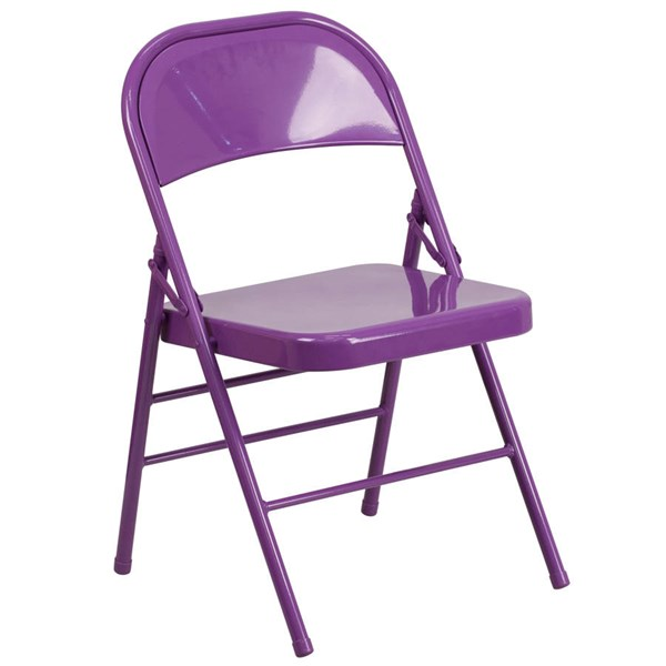 Flash Furniture Hercules Colorburst Impulsive Purple Double Hinged Folding Chair FLF-HF3-PUR-GG