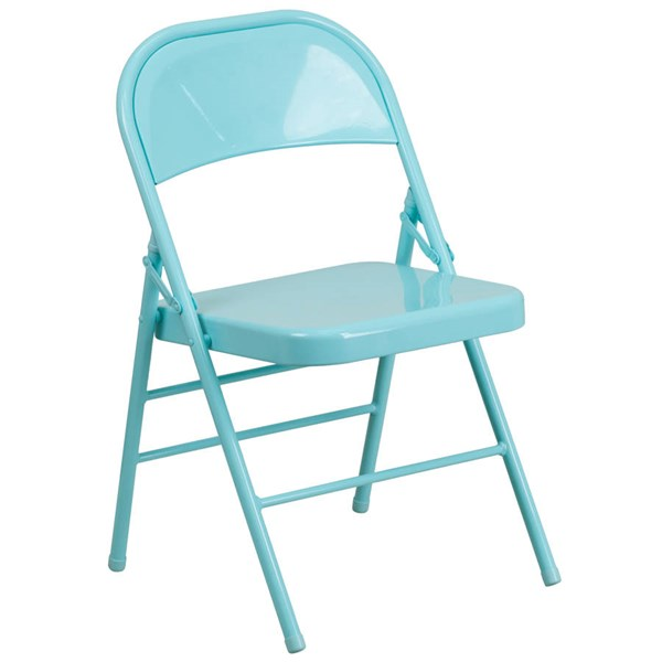 Flash Furniture Hercules Colorburst Tantalizing Teal Double Hinged Folding Chair FLF-HF3-TEAL-GG