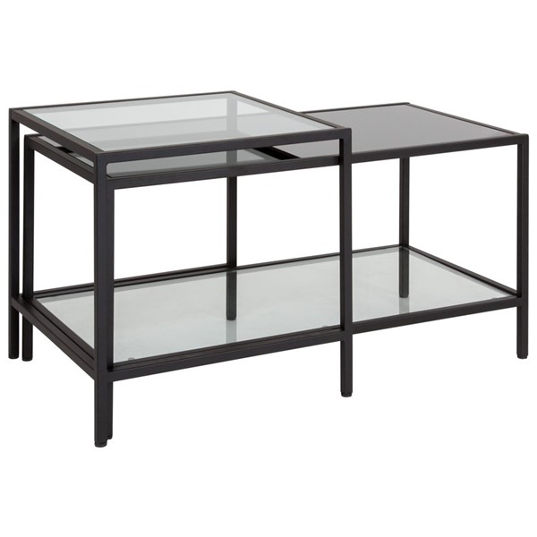 Flash Furniture Westerly Black Tiered Glass Coffee Table FLF-HG-112345-GG