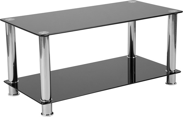 Flash Furniture Riverside Black Glass Coffee Table FLF-HG-112347-GG