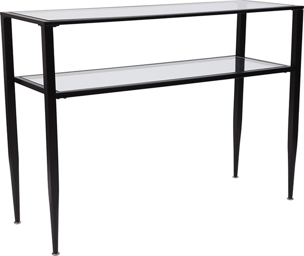 Flash Furniture Newport Black Glass Console Table FLF-HG-160334-GG