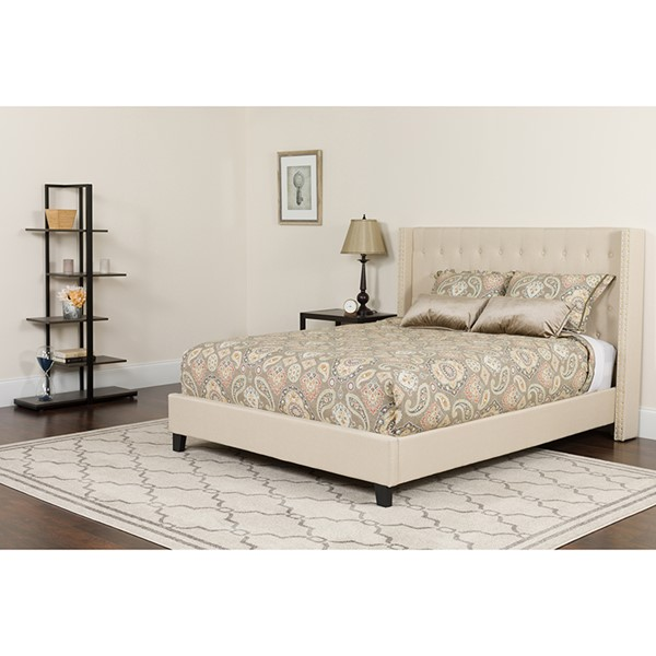 Flash Furniture Riverdale Beige King Platform Bed Set FLF-HG-BM-36-GG