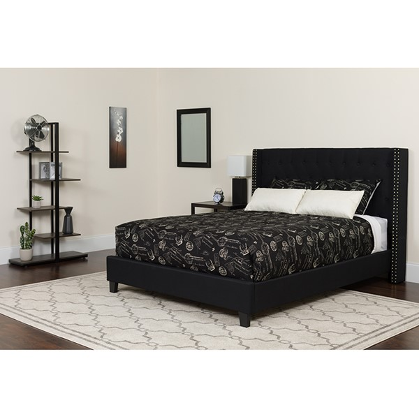 Flash Furniture Riverdale Black Queen Platform Bed Set FLF-HG-BM-39-GG