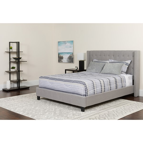 Flash Furniture Riverdale Light Gray King Platform Bed Set FLF-HG-BM-44-GG
