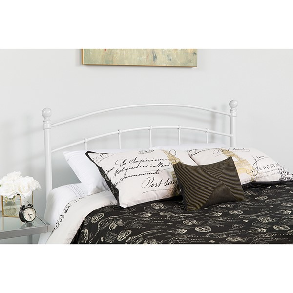 Flash Furniture Woodstock White Metal Queen Headboard FLF-HG-HB1706-WH-Q-GG