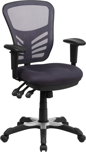 Flash Furniture Dark Gray Mesh Mid Back Swivel Task Chair FLF-HL-0001-DK-GY-GG