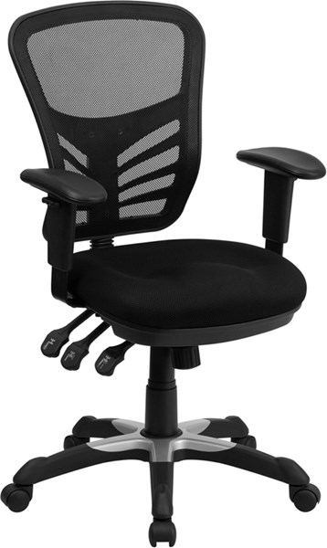 Mid-Back Black Mesh Swivel Task Chair with Triple Paddle Control FLF-HL-0001-GG