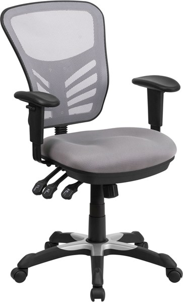 Flash Furniture Gray Mesh Mid Back Swivel Task Chair FLF-HL-0001-GY-GG