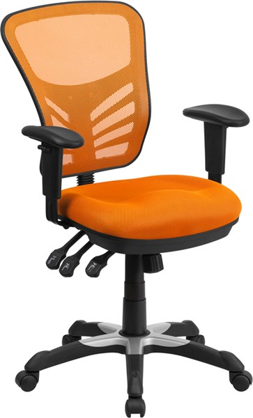 Flash Furniture Orange Mesh Mid Back Swivel Task Chair FLF-HL-0001-OR-GG