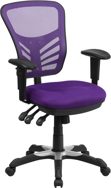Mid-Back Purple Mesh Swivel Task Chair with Triple Paddle Control FLF-HL-0001-PUR-GG