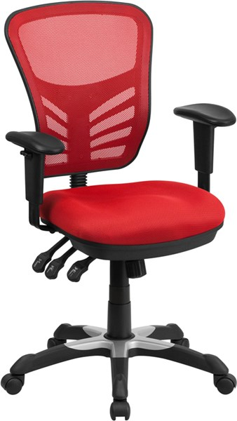 Flash Furniture Red Mesh Mid Back Swivel Task Chair FLF-HL-0001-RED-GG