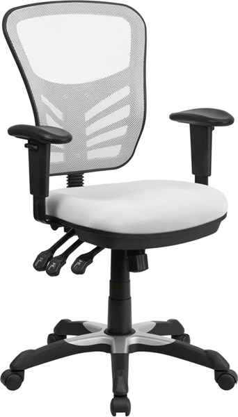 Flash Furniture White Mesh Mid Back Swivel Task Chair FLF-HL-0001-WH-GG
