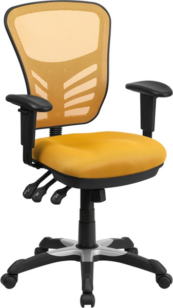 Mid-Back Yellow-Orange Mesh Swivel Task Chair w/Triple Paddle Control FLF-HL-0001-YEL-GG