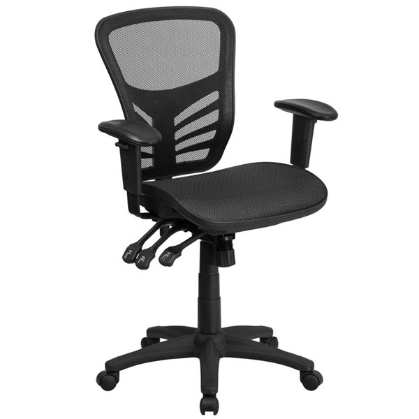 Flash Furniture Black Mesh Multifunction Executive Swivel Chair with Adjustable Arms FLF-HL-0001T-GG