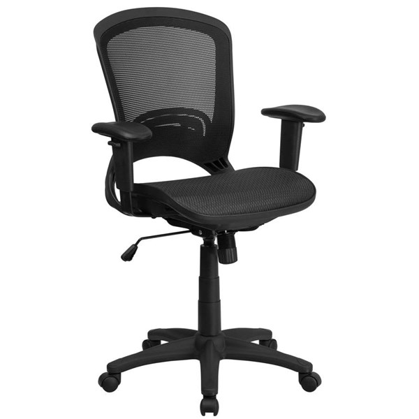 Flash Furniture Black Mesh Executive Swivel Chair with Adjustable Arms FLF-HL-0007T-GG