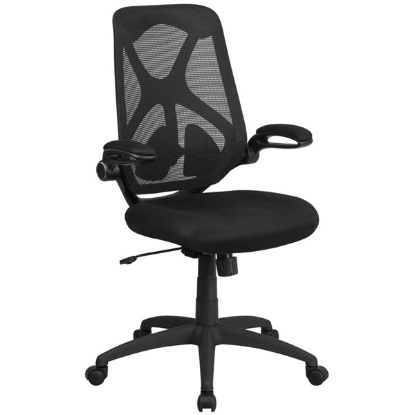 Flash Furniture Black Mesh Executive Swivel Chair with Flip Up Arms FLF-HL-0013-GG